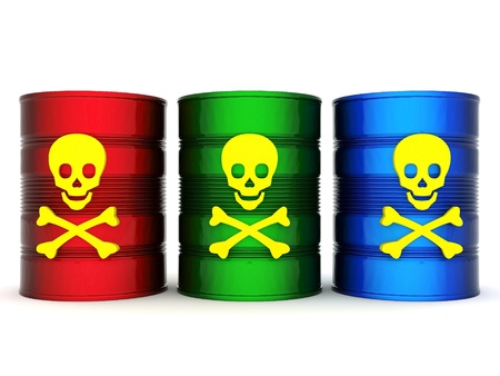 hazardous: iron barrel with toxic waste on a white background