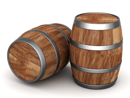 liquor: image of the old oak barrels on a white background Stock Photo