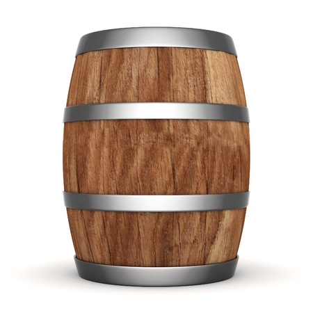 image of the old oak barrels on a white background Stock Photo