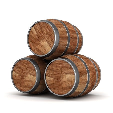 old container: image of the old oak barrels on a white background Stock Photo