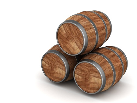 root beer: image of the old oak barrels on a white background Stock Photo