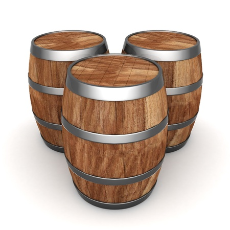 image of the old oak barrels on a white background photo