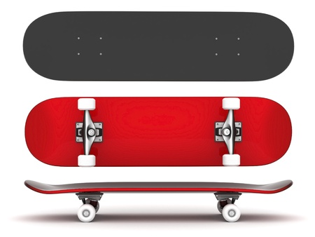 skateboarding: brand new skateboard, pictured on a white background Stock Photo