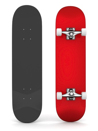 extreme angle: brand new skateboard, pictured on a white background Stock Photo