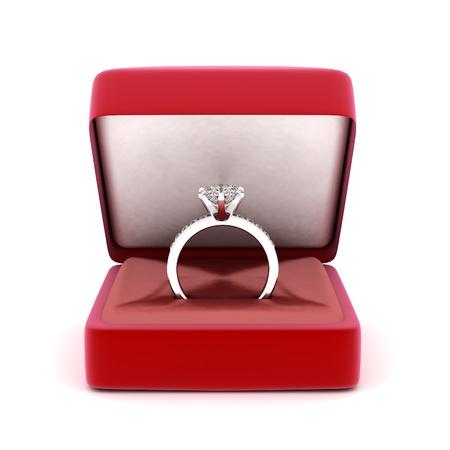 약혼: 흰색 배경에 선물 상자에 결혼 반지의 이미지