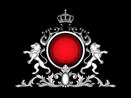 image of beautiful, ancient emblem of the glossy background photo