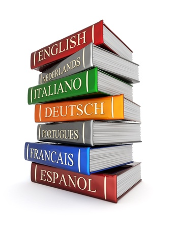 language dictionary: Picture pages,  Books bindings and Literature Stock Photo