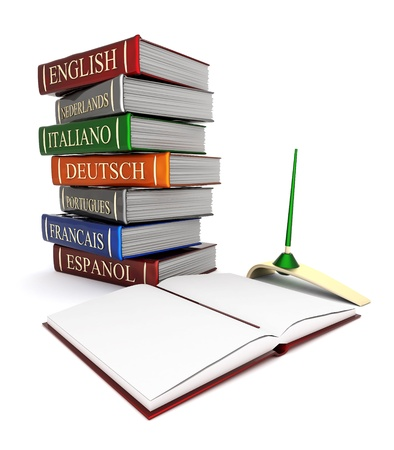 vocabulary: Picture pages,  Books bindings and Literature Stock Photo