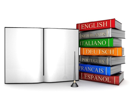 translate: Picture pages,  Books bindings and Literature Stock Photo