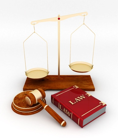 illegal trading: beautiful image of judicial attributes on a white background