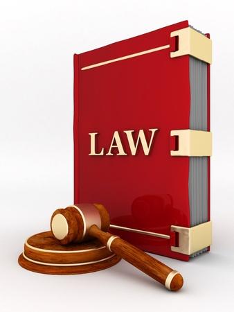 derecho penal: bella imagen de los atributos judiciales sobre un fondo blanco