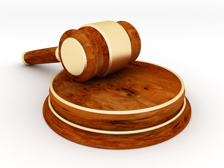 court proceedings: beautiful image of judicial attributes on a white background
