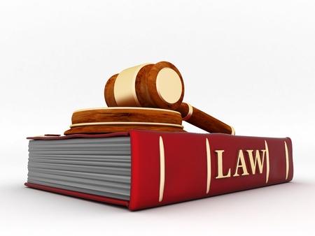 arbitrar: bella imagen de atributos judiciales sobre un fondo blanco Foto de archivo