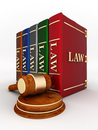 liability: beautiful image of judicial attributes on a white background