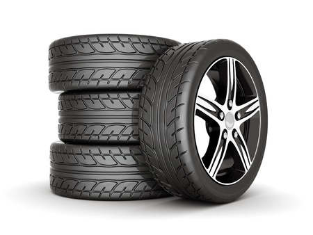 automobile industry: image sport wheels with alloy wheels on a white background