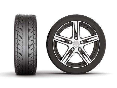 image sport wheels with alloy wheels on a white background Stock Photo - 10337594