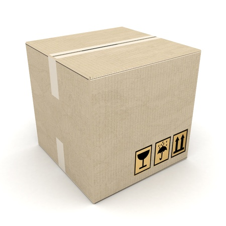 boxes of cardboard image on white background photo