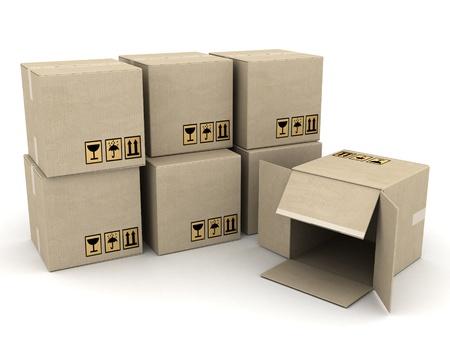 stockpile: boxes of cardboard image on white background