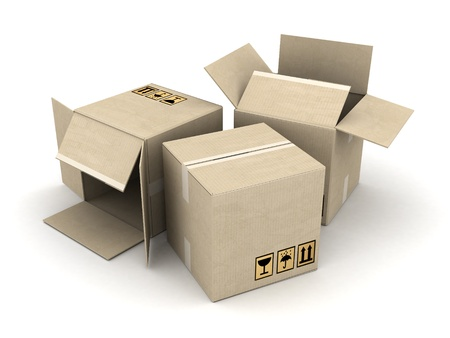 boxes of cardboard image on white background