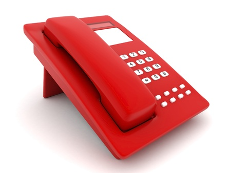 image of beautiful, red phone on a white background Stock Photo - 10380867
