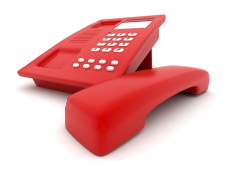 landlines: image of beautiful, red phone on a white background