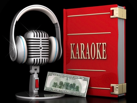 karaoke: image of the old, chrome microphone on a black background Stock Photo