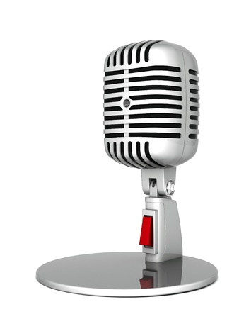 oldie: image of the old, chrome microphone on a white background