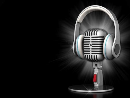 Bild des alten, Chrom Mikrofon auf einem schwarzen Hintergrund