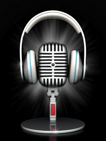 live concert: image of the old, chrome microphone on a black background Stock Photo