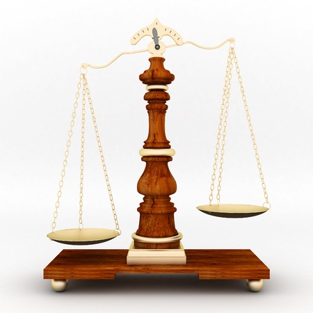 antique weight scale: beautiful image of judicial attributes on a white background