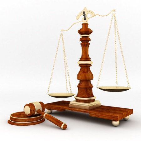 judicial: beautiful image of judicial attributes on a white background