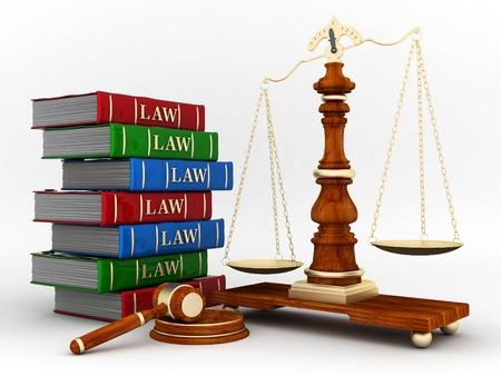 abogado: bella imagen de atributos judiciales sobre un fondo blanco Foto de archivo