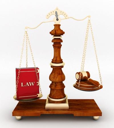 ley: bella imagen de atributos judiciales sobre un fondo blanco Foto de archivo