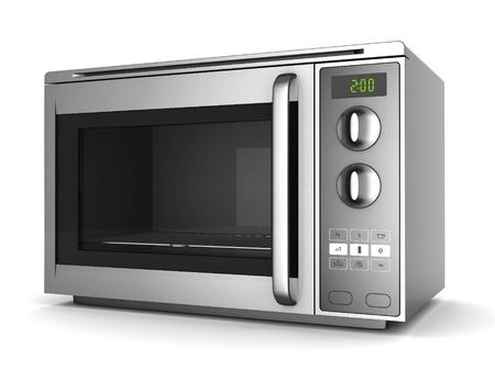 Imagen del horno microondas sobre un fondo blanco Foto de archivo