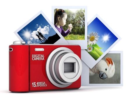 compact camera: Digital camera image on white background