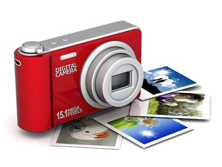 Digital camera image on white background