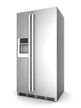 Stellen Sie sich einen schönen Kühlschrank auf weißem Hintergrund
