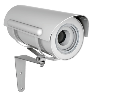 video surveillance: Camera image on white background Stock Photo