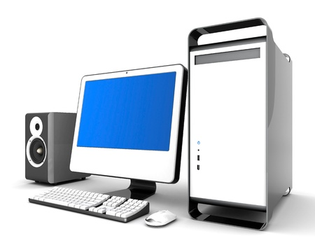 workstation: Image of computer technology on a white background isolated Stock Photo
