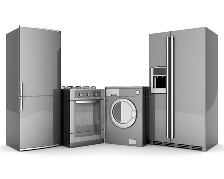 kitchen appliances: picture of household appliances on a white background Stock Photo