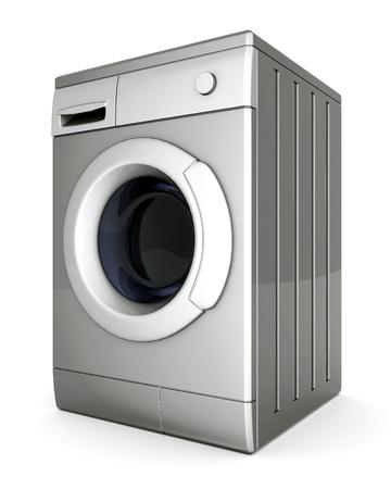 lavadora de ropa: foto de lavadora sobre un fondo blanco Foto de archivo