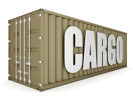 image of the shipping container on a white background photo