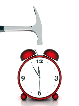 beautiful image, the red alarm clock on white background photo