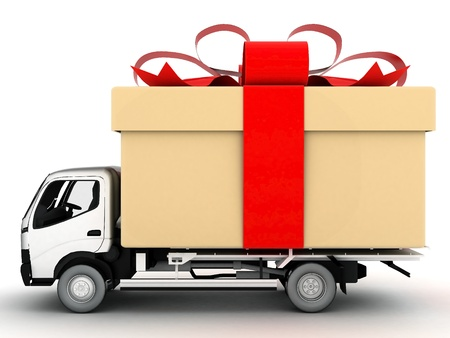 image delivery vehicle on a white background