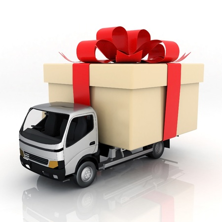 haulage: image delivery vehicle on a white background