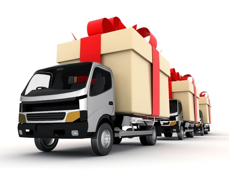 image delivery vehicle on a white background photo