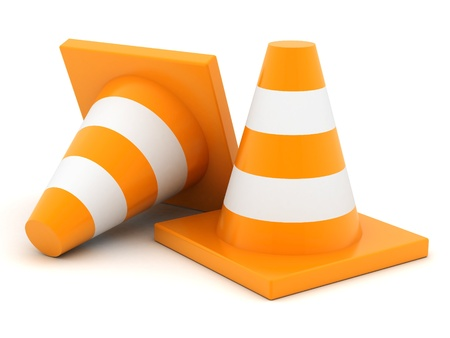road marking: image signal of a cone on a white background Stock Photo