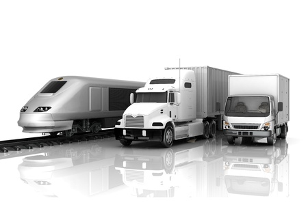 white truck: image delivery vehicle on a white background
