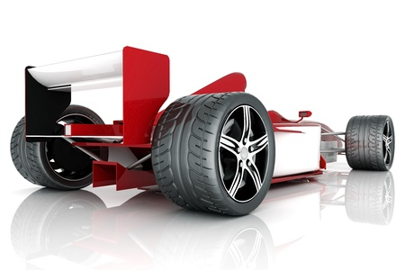 image red sports car on a white background photo