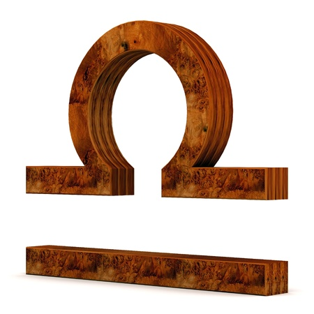 zodiacal: wooden picture zodiac sign on white background